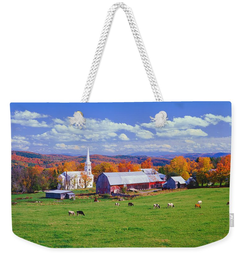 Scenics Weekender Tote Bag featuring the photograph Lush Autumn Countryside In Vermont With by Ron thomas