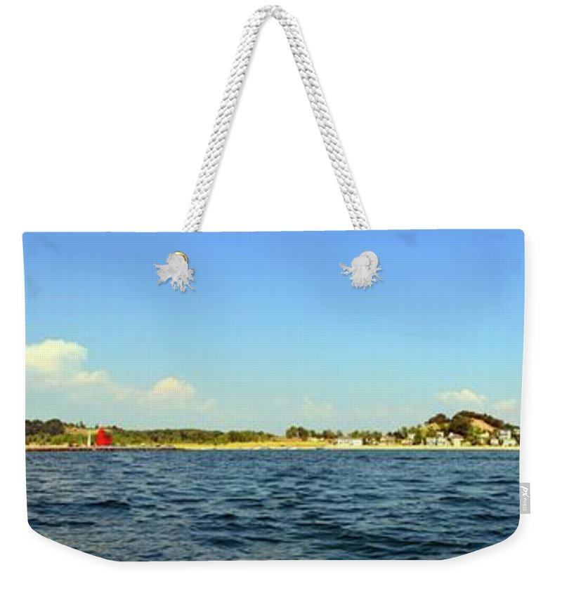 Lighthouse Weekender Tote Bag featuring the photograph Macatawa And Big Red by Michelle Calkins