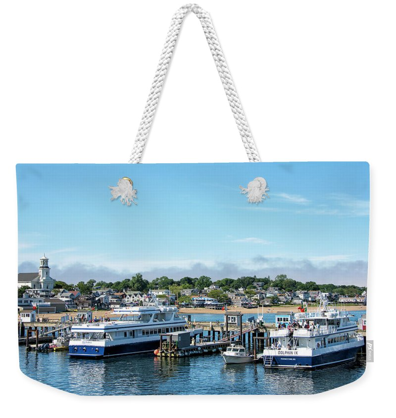 Provincetown Massachusetts Weekender Tote Bag featuring the photograph Macmillan Pier And Provincetown Harbor - Massachusetts by Brendan Reals