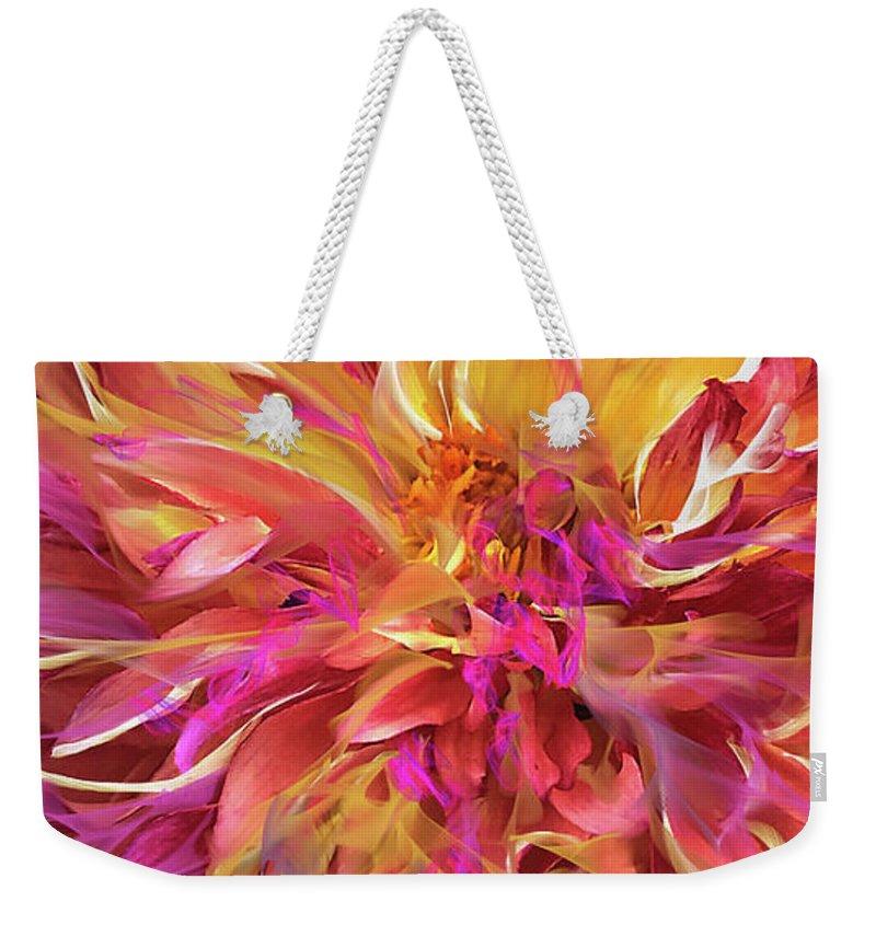 Magenta Weekender Tote Bag featuring the digital art Magenta Sunshine by Cindy Greenstein