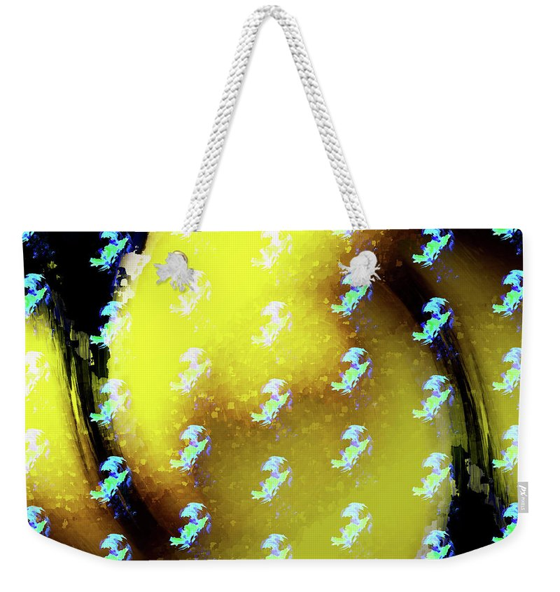 Magic Weekender Tote Bag featuring the digital art Magical Wormhole With Gold And Turquoise Swirls by Sakura Yama