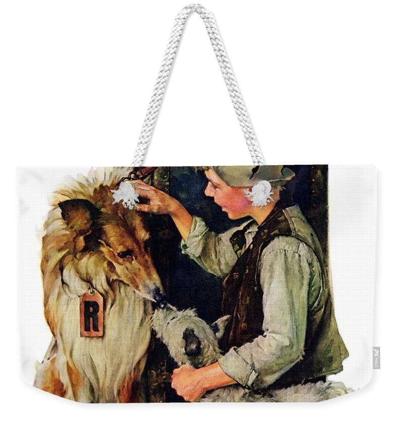 Boy Weekender Tote Bag featuring the drawing Making Friends by Norman Rockwell