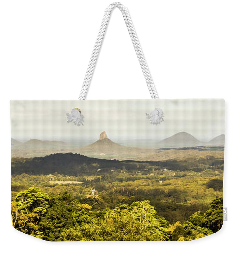 Sunshine Coast Weekender Tote Bag featuring the photograph Maleny To The Glass House Mountains by Jorgo Photography - Wall Art Gallery
