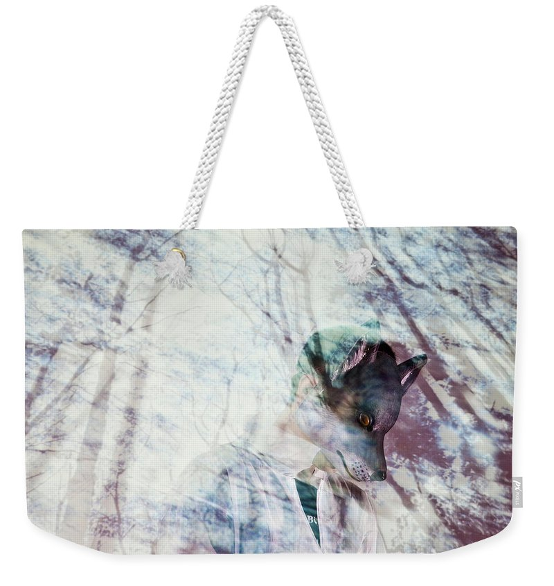 People Weekender Tote Bag featuring the photograph Man Wearing Wolf Mask With Projection by Win-initiative