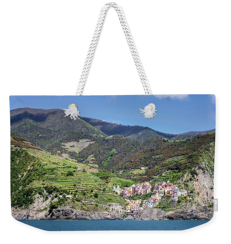 Joan Carroll Weekender Tote Bag featuring the photograph Manarola Cinque Terre Italy by Joan Carroll