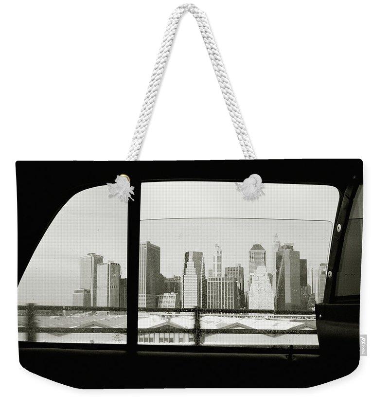 Car Interior Weekender Tote Bag featuring the photograph Manhattan Through Car Window by Matt Carr