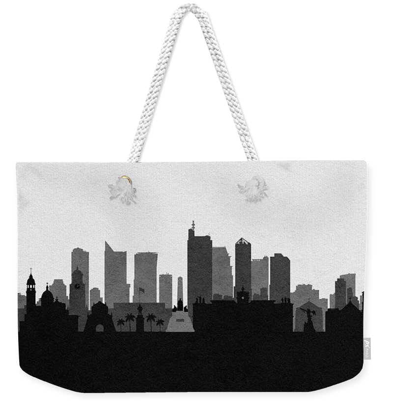 Philippines Weekender Tote Bag featuring the digital art Manila Cityscape Art by Inspirowl Design