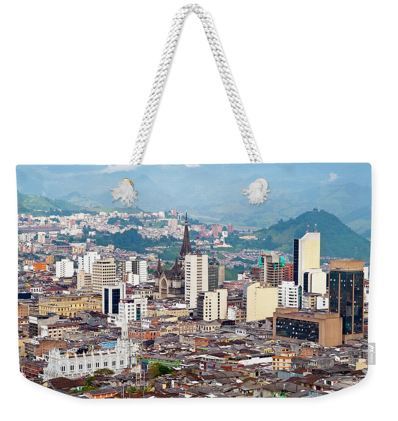 Built Structure Weekender Tote Bag featuring the photograph Manizales City View, Colombia by Holgs