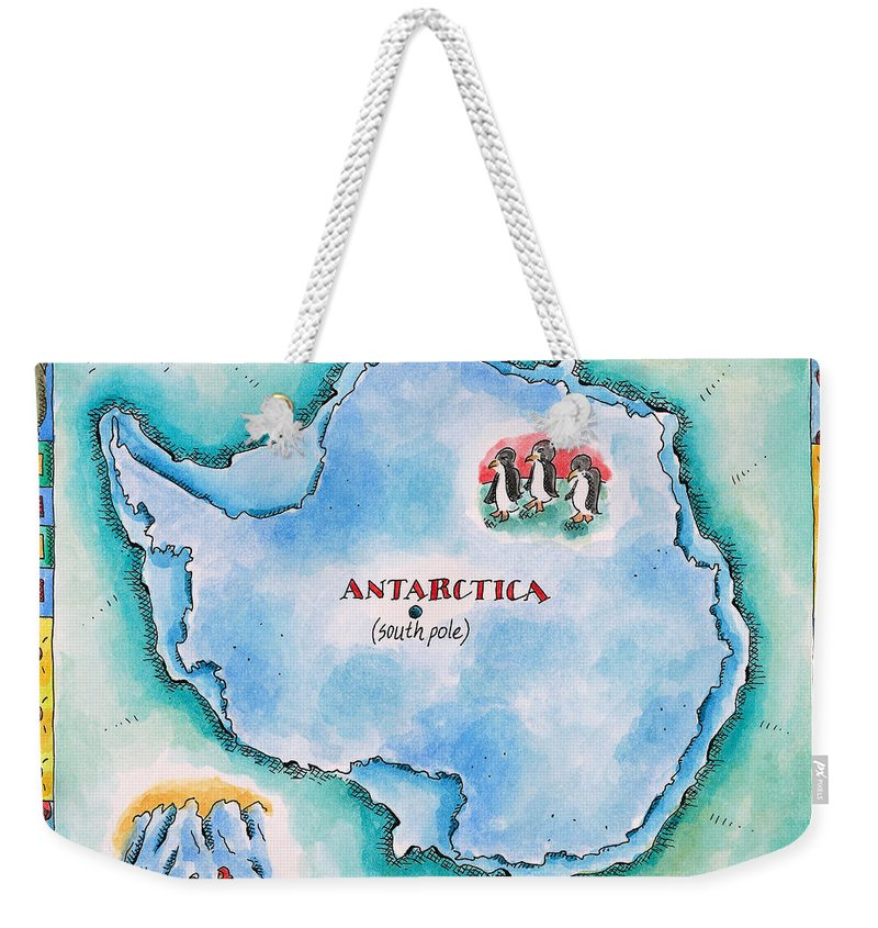 Watercolor Painting Weekender Tote Bag featuring the digital art Map Of Antarctica by Jennifer Thermes