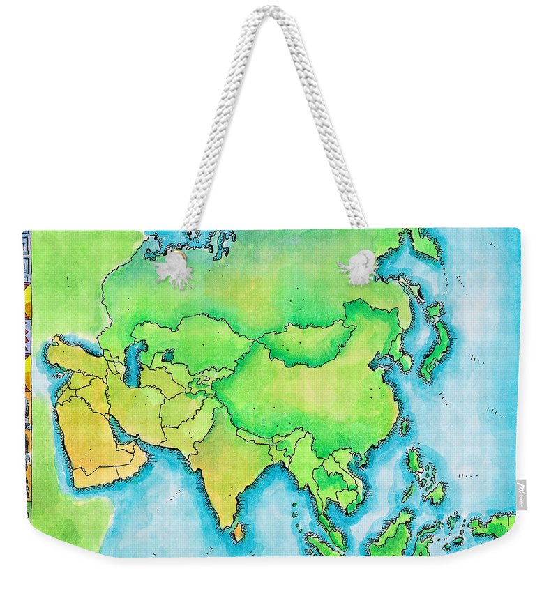 Watercolor Painting Weekender Tote Bag featuring the digital art Map Of Asia by Jennifer Thermes