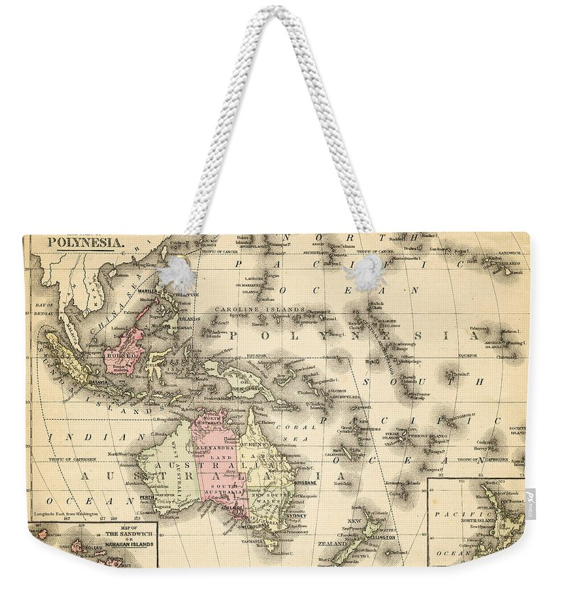 Island Of Borneo Weekender Tote Bag featuring the digital art Map Of Australia, Malaysia And Polynesia by Thepalmer