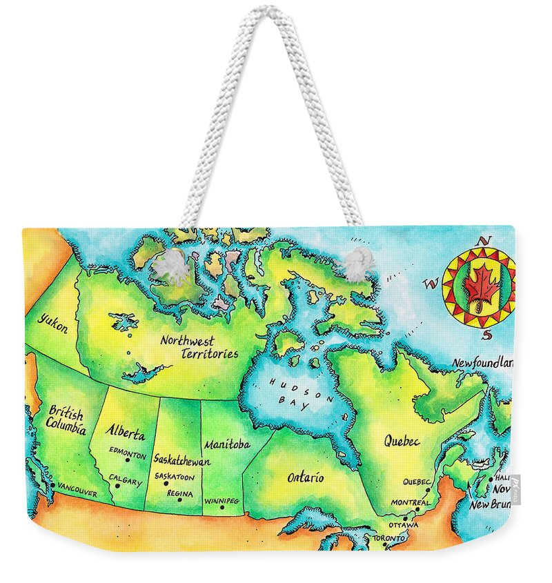 Watercolor Painting Weekender Tote Bag featuring the digital art Map Of Canada by Jennifer Thermes