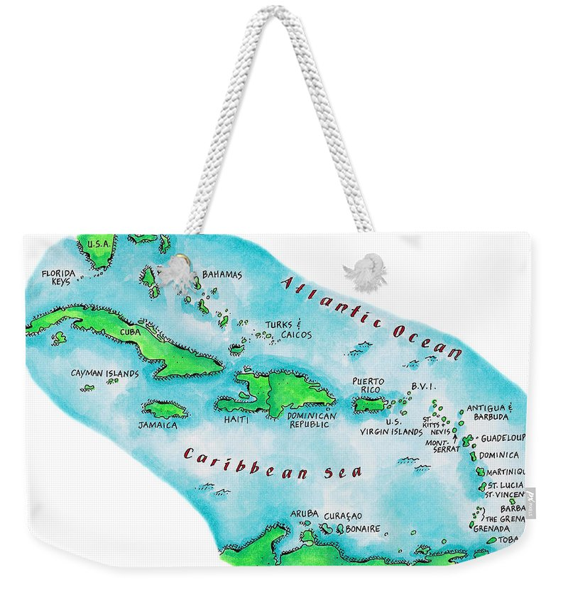 Watercolor Painting Weekender Tote Bag featuring the digital art Map Of Caribbean Islands by Jennifer Thermes