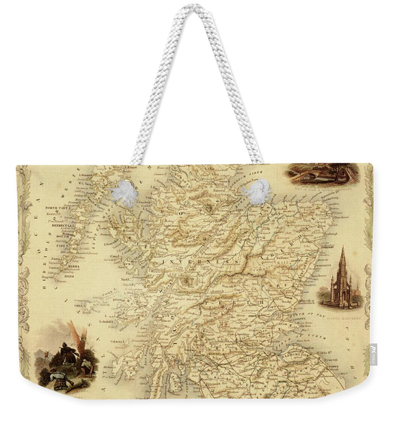 Journey Weekender Tote Bag featuring the digital art Map Of Scotland From 1851 by Nicoolay