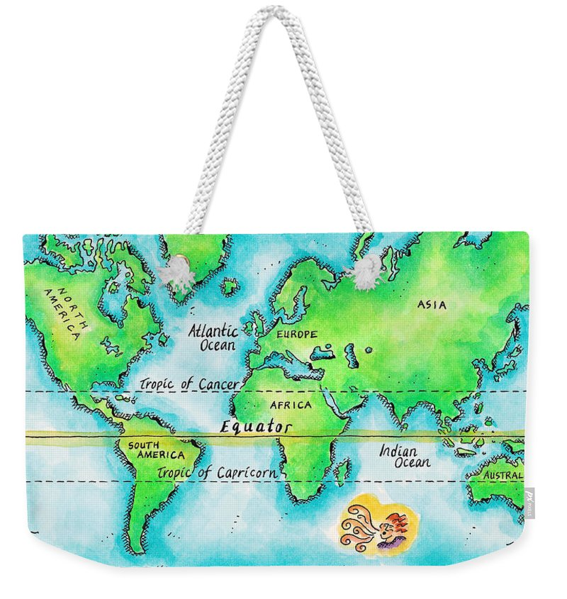 Watercolor Painting Weekender Tote Bag featuring the digital art Map Of The World & Equator by Jennifer Thermes