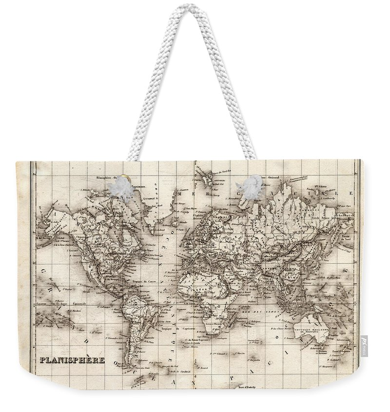 Oceania Weekender Tote Bag featuring the digital art Map Of The World 1842 by Thepalmer