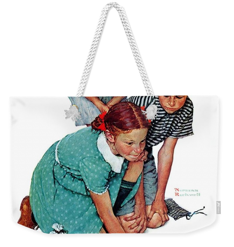 Boys Weekender Tote Bag featuring the drawing Marbles Champ by Norman Rockwell