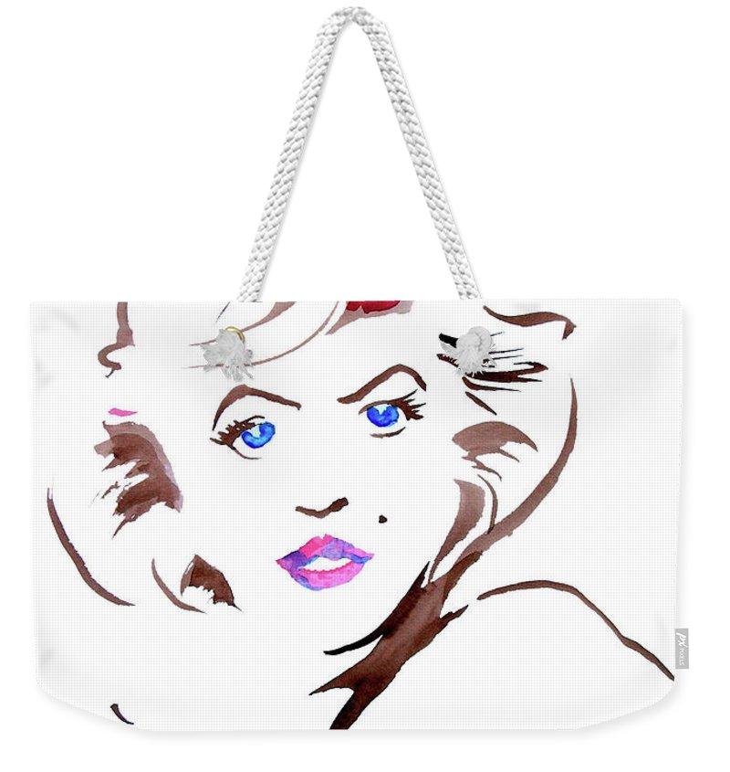 Marilyn Weekender Tote Bag featuring the painting Marilyn by Seth Weaver