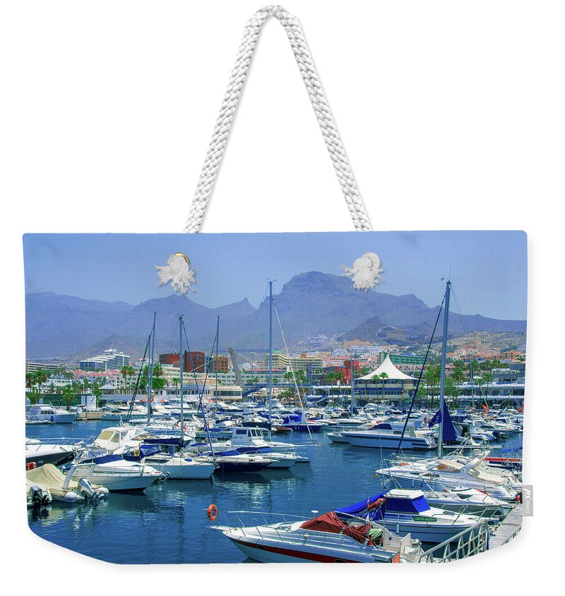 Marina Weekender Tote Bag featuring the photograph Marina Of Costa Adeje by Sun Travels