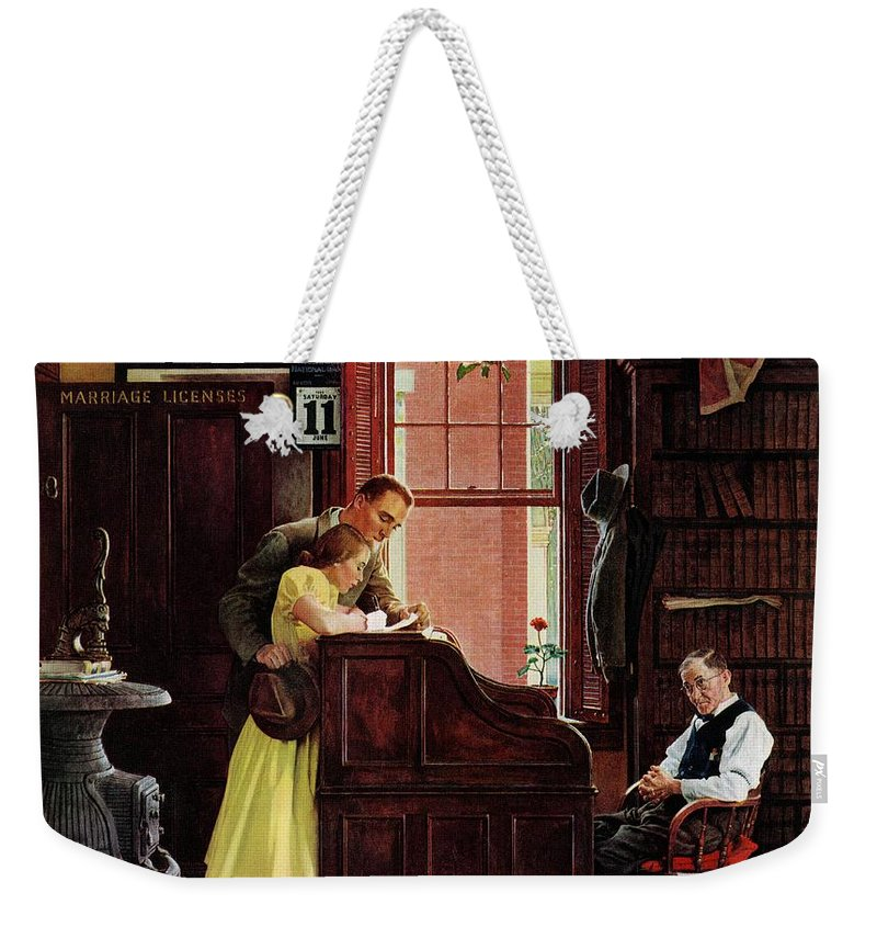 Clerks Weekender Tote Bag featuring the drawing Marriage License by Norman Rockwell