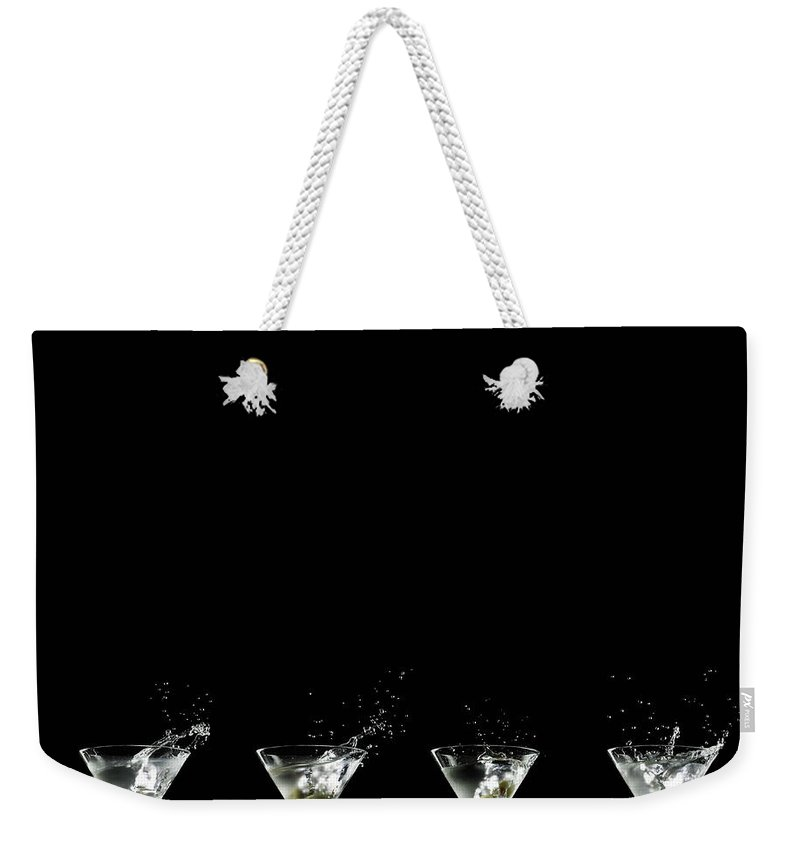 Martini Glass Weekender Tote Bag featuring the photograph Martini Splash by Monica Rodriguez
