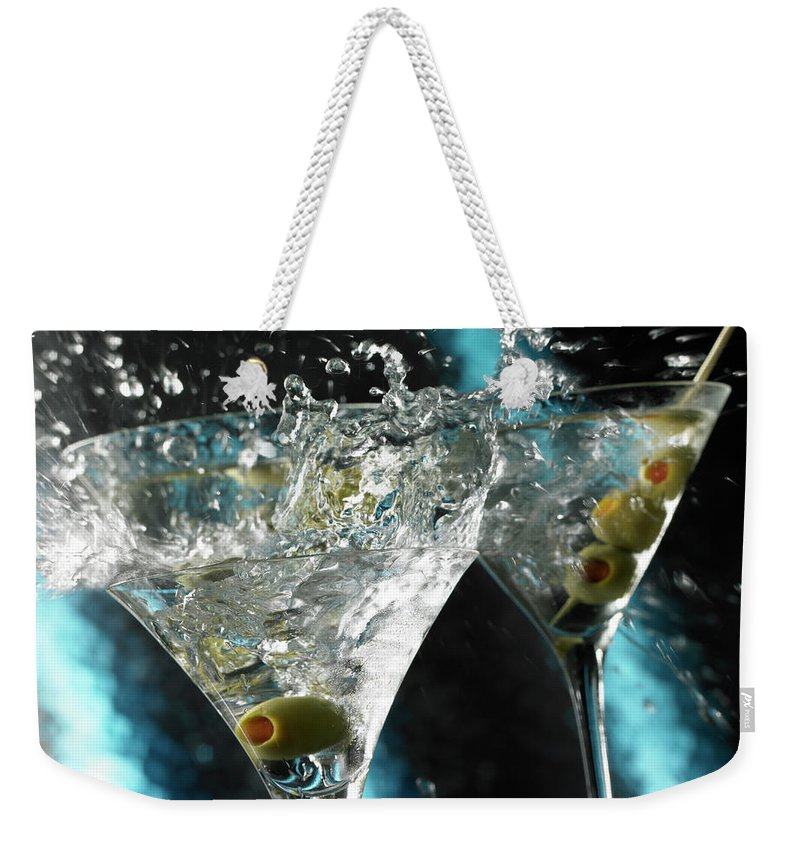 Alcohol Weekender Tote Bag featuring the photograph Martini Wild Splash by Triton21