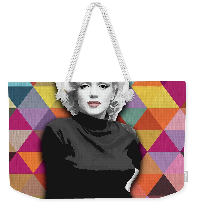 Marylin Weekender Tote Bag featuring the painting Marylin Monroe Diamonds by Carla Bank