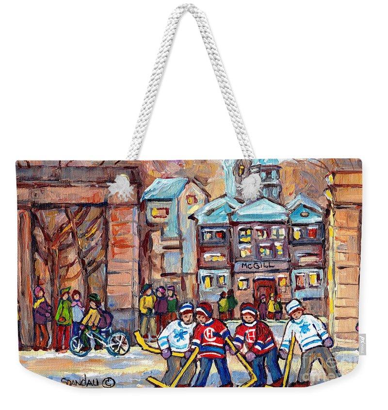 Montreal Weekender Tote Bag featuring the painting Mcgill University Roddick Gates Original Painting For Sale Hoockey Art C Spandau Canadian City Scene by Carole Spandau