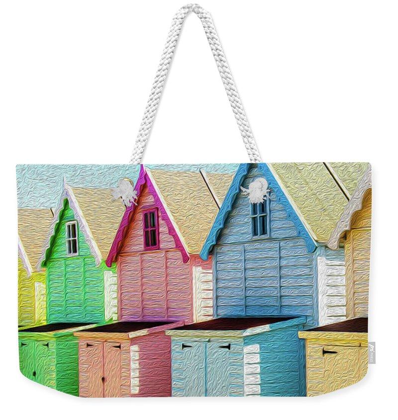 West Mersea Weekender Tote Bag featuring the photograph Mersea Island Beach Hut Oil Painting Look 7 by Jonny Essex