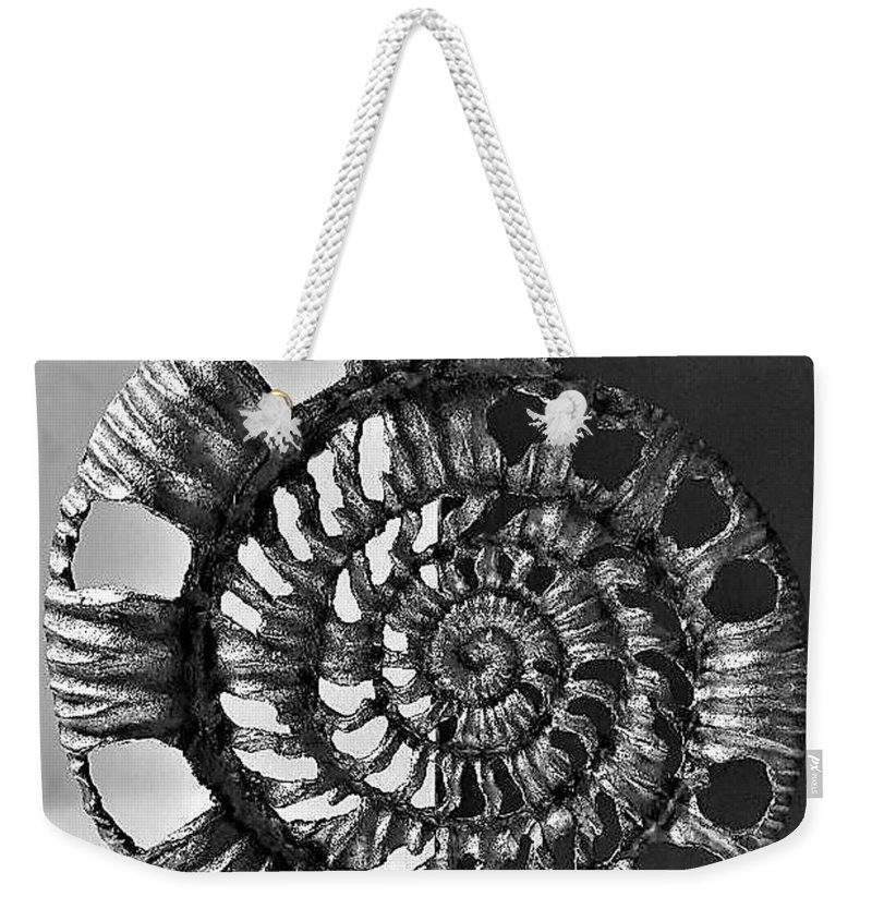 Nautical Weekender Tote Bag featuring the photograph Metal Sea Shell by Rob Hans