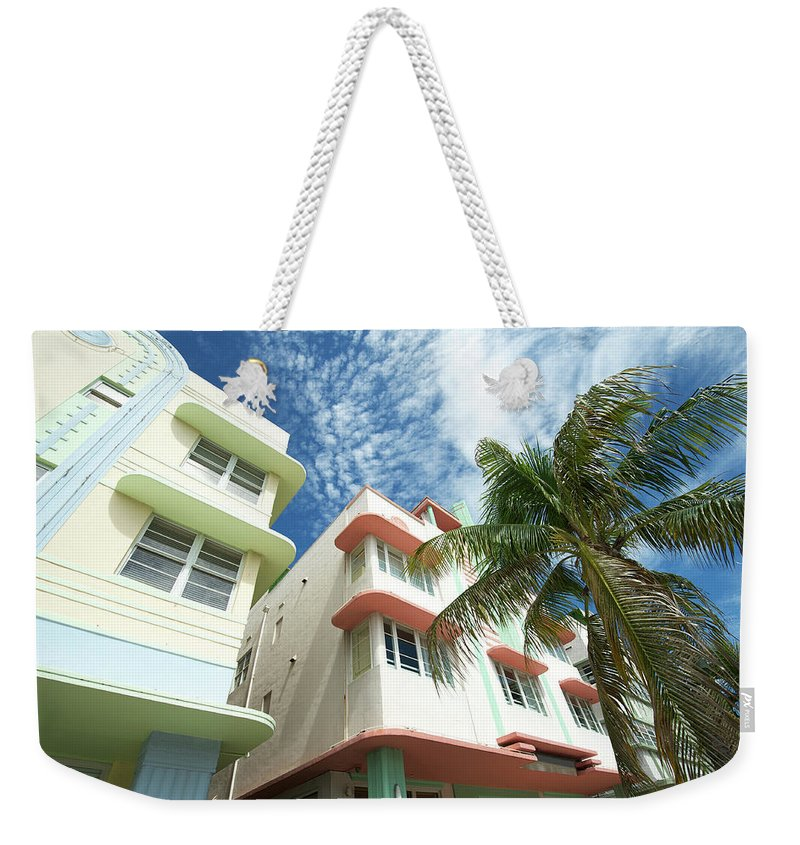 Architectural Feature Weekender Tote Bag featuring the photograph Miami Art Deco Drive Architecture Blue by Peskymonkey