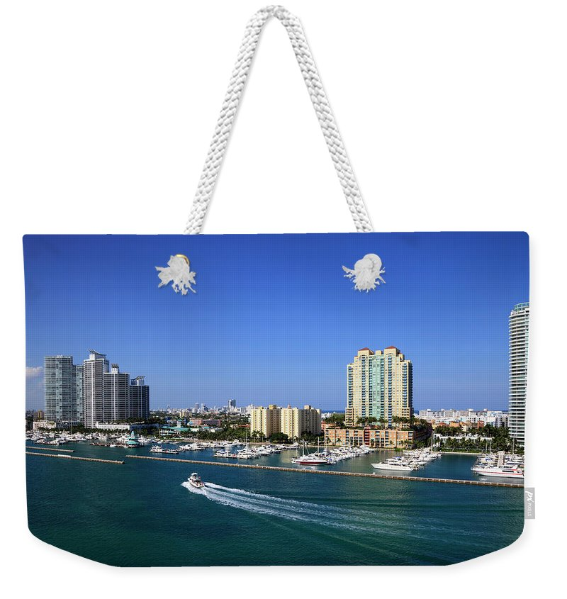 Built Structure Weekender Tote Bag featuring the photograph Miami Beach Marina by Jorgegonzalez
