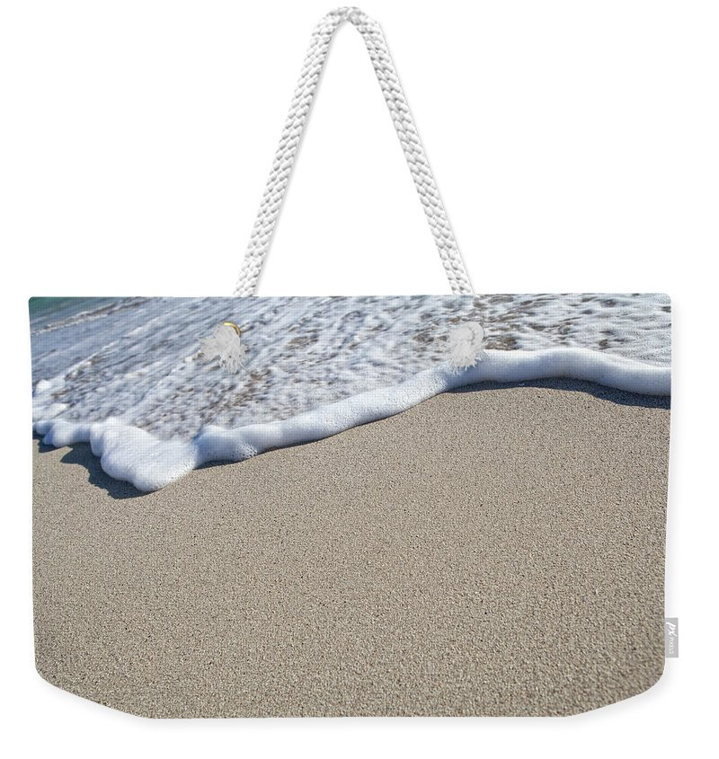 Water's Edge Weekender Tote Bag featuring the photograph Miami South Beach Sand And Surf by Inhauscreative