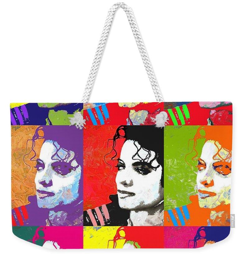 Pop Weekender Tote Bag featuring the digital art Michael Jackson Andy Warhol Style by Linda Mears