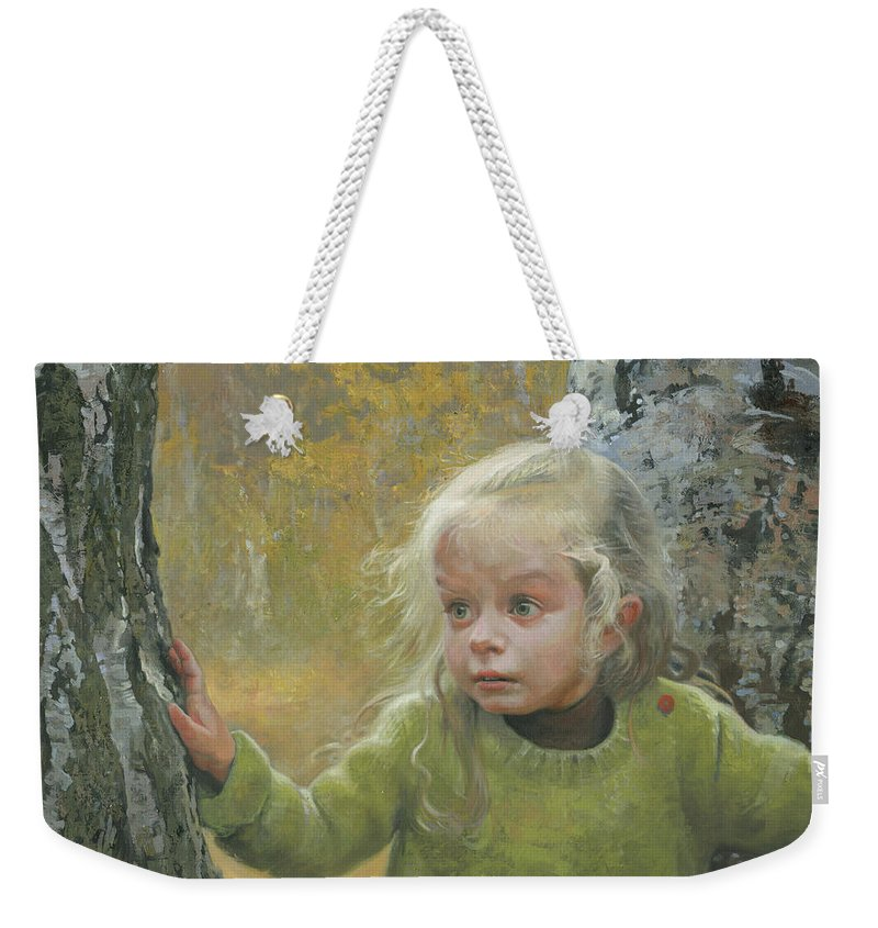 Girl Weekender Tote Bag featuring the painting Mila Between Two Birches by Denis Chernov