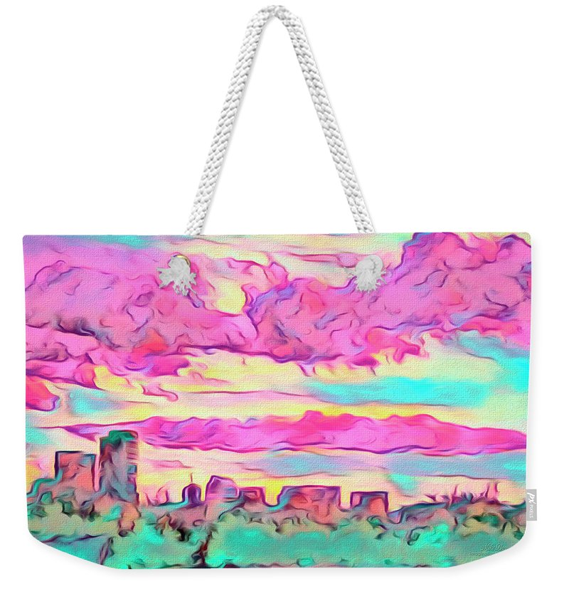 Sunset Weekender Tote Bag featuring the digital art Mile High Sunset by Mike Braun
