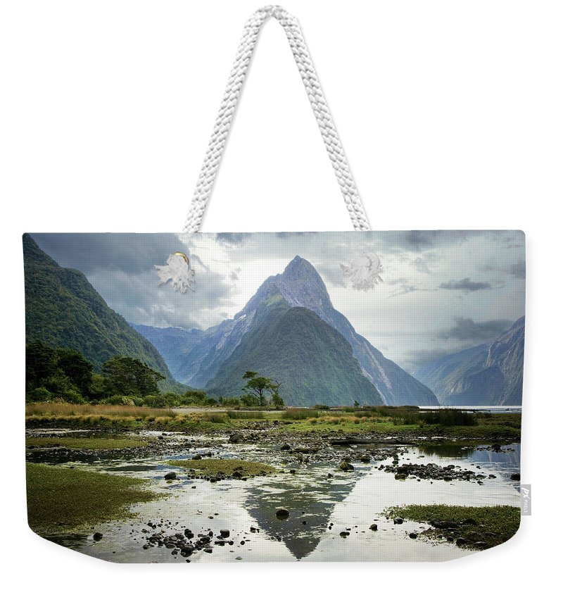 Tranquil Scene Weekender Tote Bag featuring the photograph Milford Sound, South Island, New Zealand by Ed Freeman