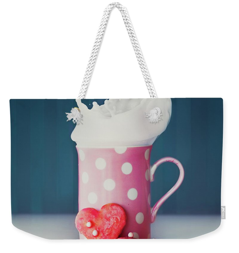Milk Weekender Tote Bag featuring the photograph Milk And Heart Shape Cookies by Julia Davila-lampe