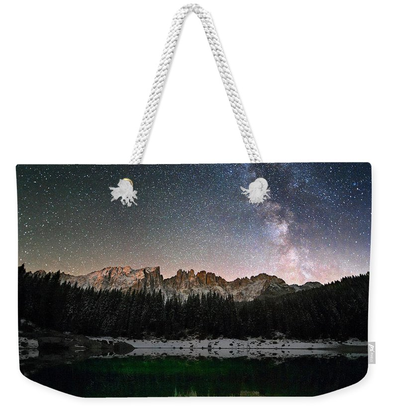 Scenics Weekender Tote Bag featuring the photograph Milky Way In The Alps by Scacciamosche
