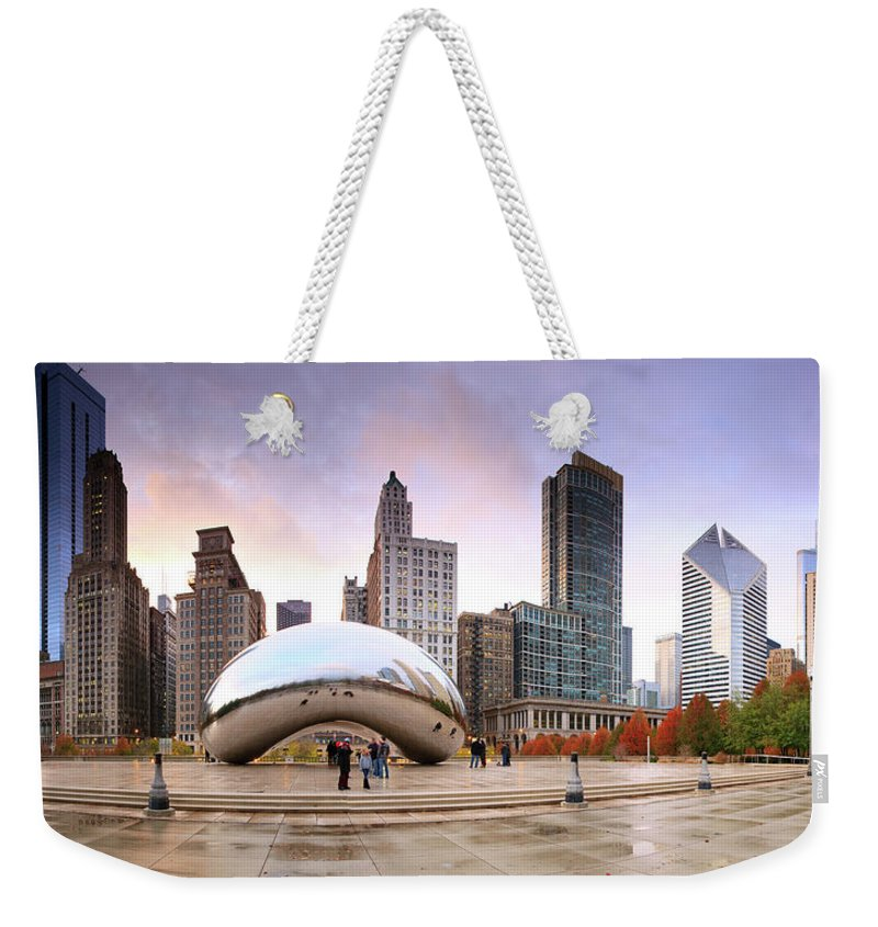 Dawn Weekender Tote Bag featuring the photograph Millennium Park, Chicago, Illinois,usa by Travelpix Ltd