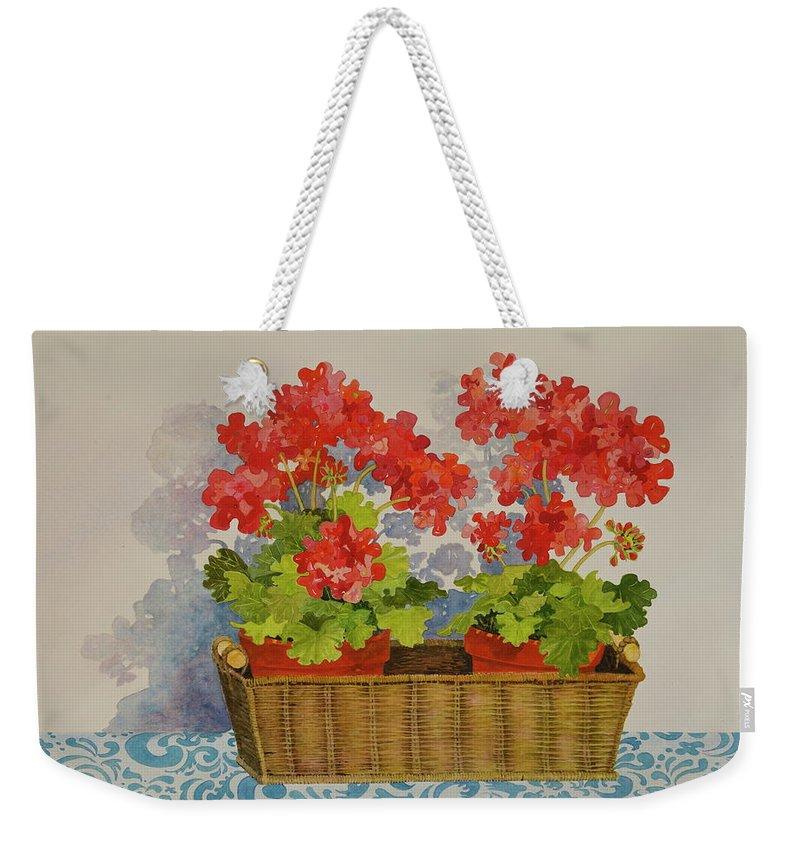 Geranium Weekender Tote Bag featuring the painting Mimi's Basket by Mary Ellen Mueller Legault