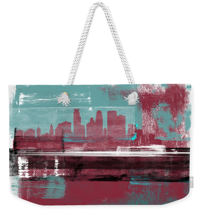 Minneapolis Weekender Tote Bag featuring the mixed media Minneapolis Abstract Skyline II by Naxart Studio