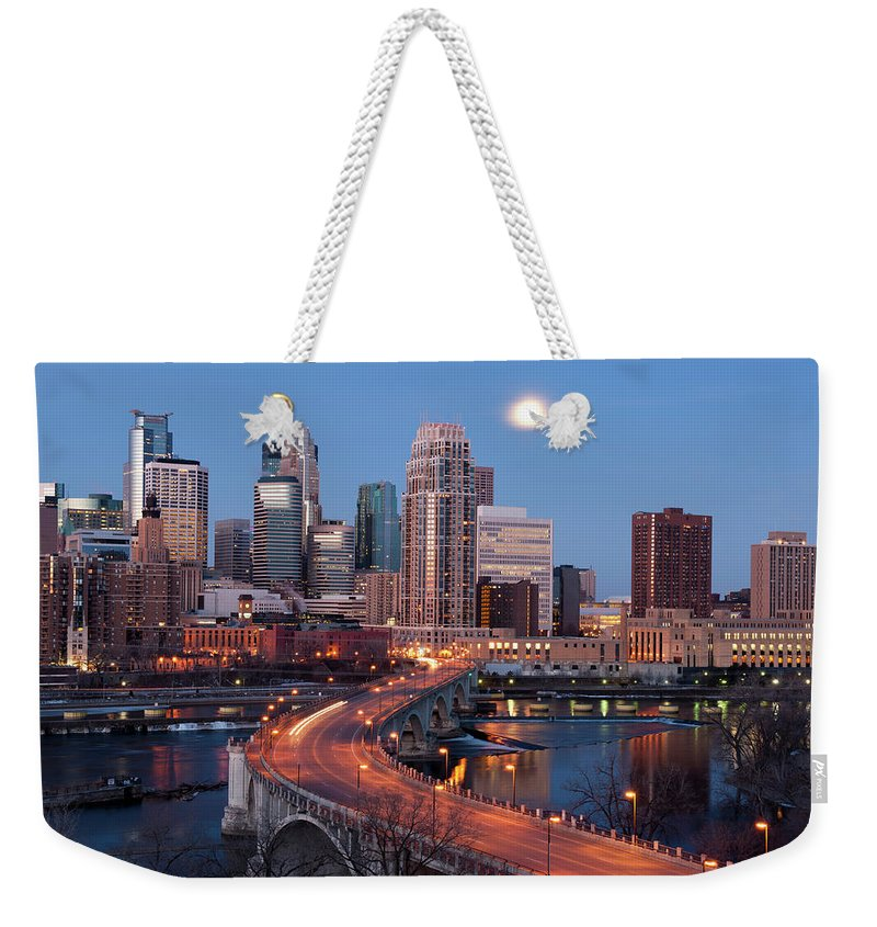 Downtown District Weekender Tote Bag featuring the photograph Minneapolis, Minnesota Skyline by Jenniferphotographyimaging