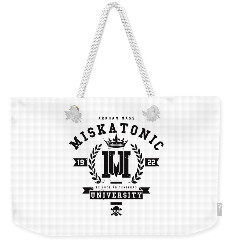 Love Weekender Tote Bag featuring the drawing Miskatonic by Illidan Raven