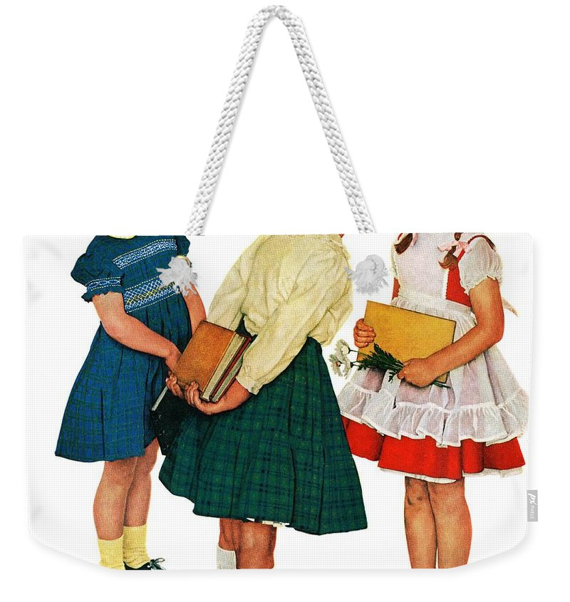 Books Weekender Tote Bag featuring the drawing Missing Tooth by Norman Rockwell