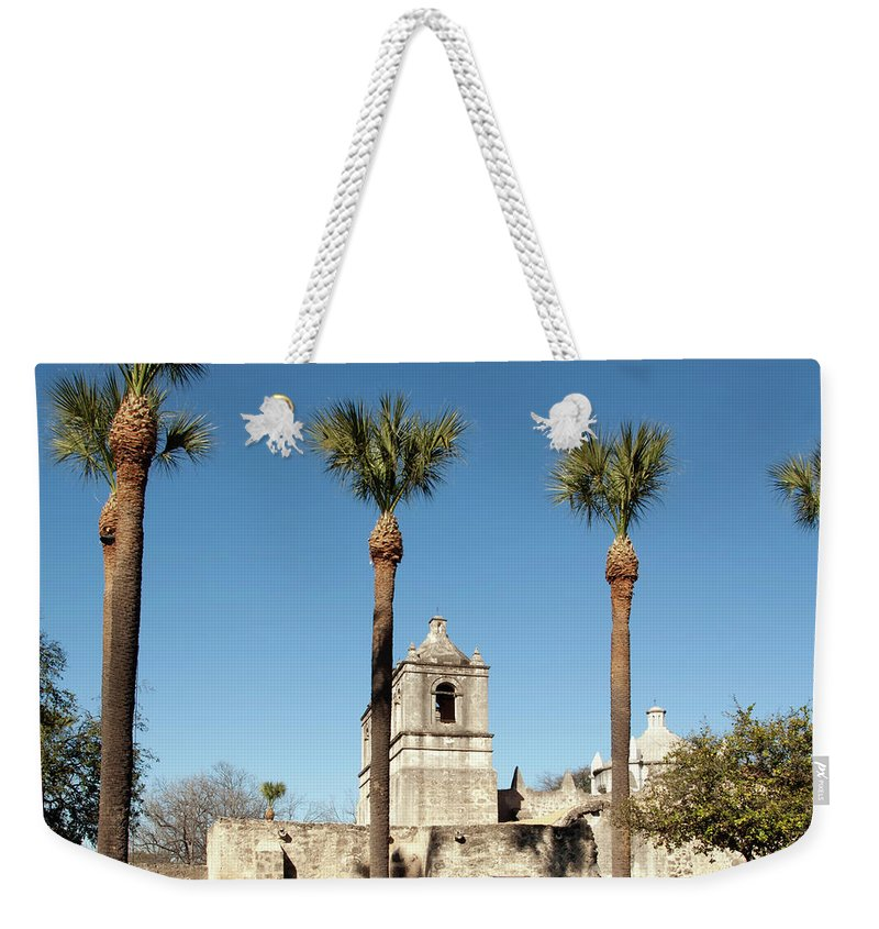 Built Structure Weekender Tote Bag featuring the photograph Mission Concepcion Detail, San Antonio by Ivanastar