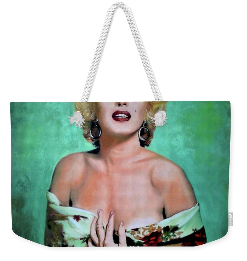 Woman Weekender Tote Bag featuring the painting M.Monroe 4 by Jose Manuel Abraham