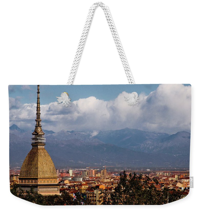 Built Structure Weekender Tote Bag featuring the photograph Mole Antonelliana, Torino And Alps by Rodolfo Rodríguez Castro