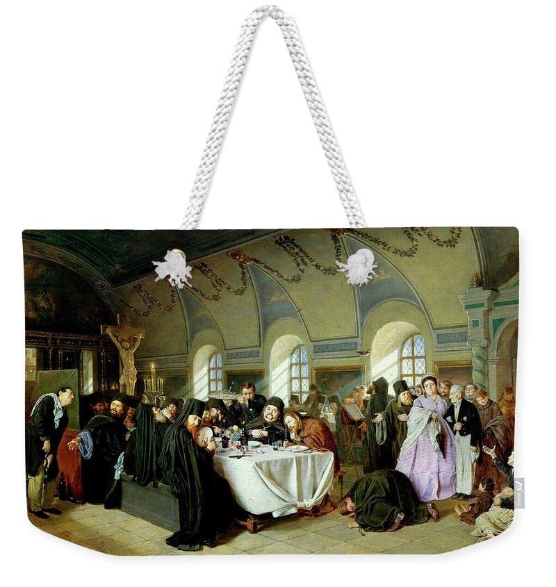 Vasily Perov Weekender Tote Bag featuring the painting Monastic Refectory by Vasily Perov