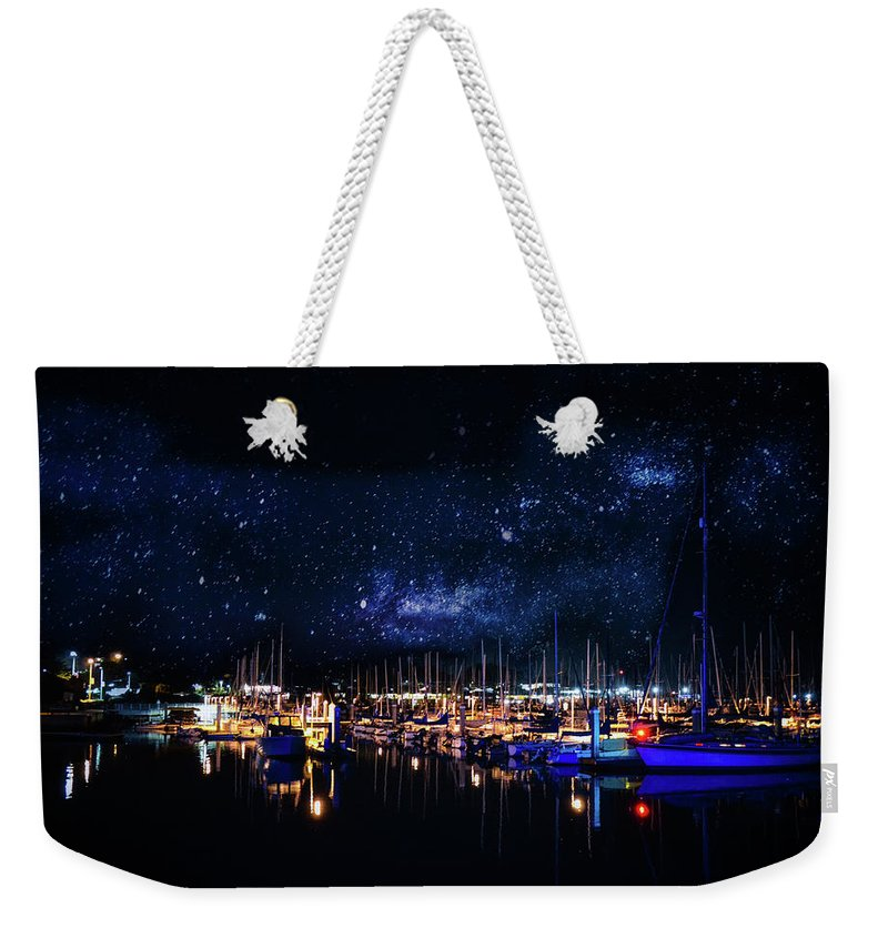 Monterey Weekender Tote Bag featuring the photograph Monterey Bay At Night by Tommy Anderson